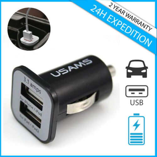 Original USAMS Dual 2x USB Auto lader Car Charger Oplader Chargeur Voiture Black
