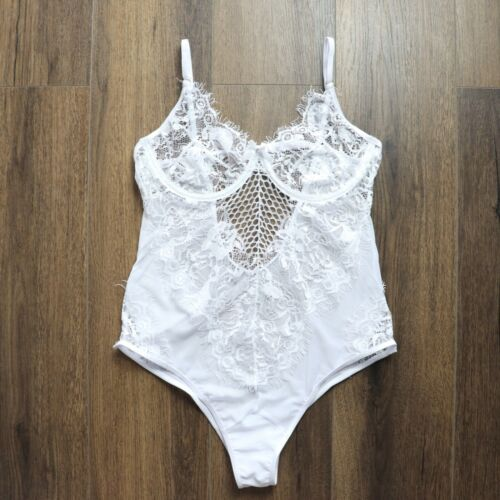 Sexy Plus Size 8-22 White Lace Crystal Bodysuit One Piece Teddy Lingerie Bridal