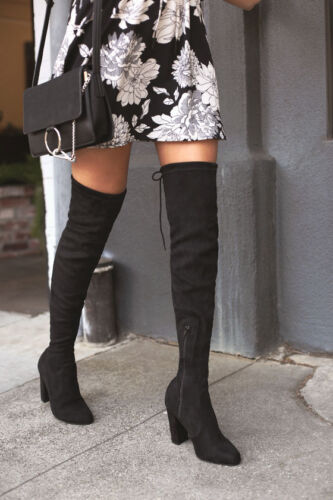 Over The Knee Boots Thigh High Stretch Upper Round Toe Chunky Block Heel Boot