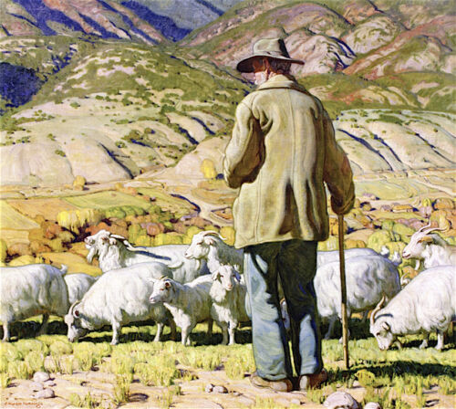 The Goat Herder by E Martin Hennings  Giclee Canvas Print Repro