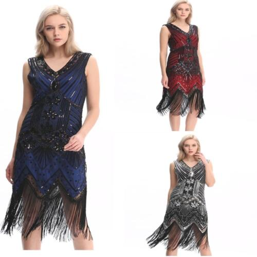 Gatsby Dress Flapper 1920s Beaded Great Party Vintage Sequin Womens S Fringed  <br/> UK Seller , Fast & Free Post , Best Quality