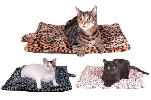 Thermal Cat Pet Dog Warming Bed Mat - BEIGE, BLUE, White or GREY Medium & Large