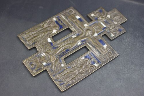 "ANTIQUE 19TH CENTURY RUSSIAN ORTHODOX ENAMEL BRONZE CRUCIFIX ICON 9"" X 5.75"""