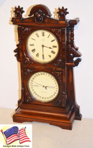 RESTORED SETH THOMAS PARLOR CALENDAR 9-1885 ANTIQUE CLOCK IN MAHOGANY & BURL