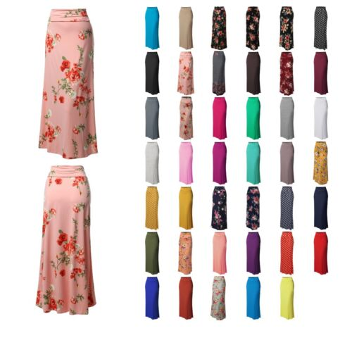 FashionOutfit Women's Stylish Fold Over Flare Long Maxi Skirt - Made In USA