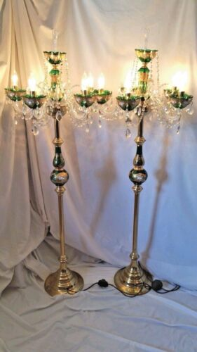 Antique Moser Style Bohemian Czech Crystal Glass Lustre or Luster Lamp Set of 2