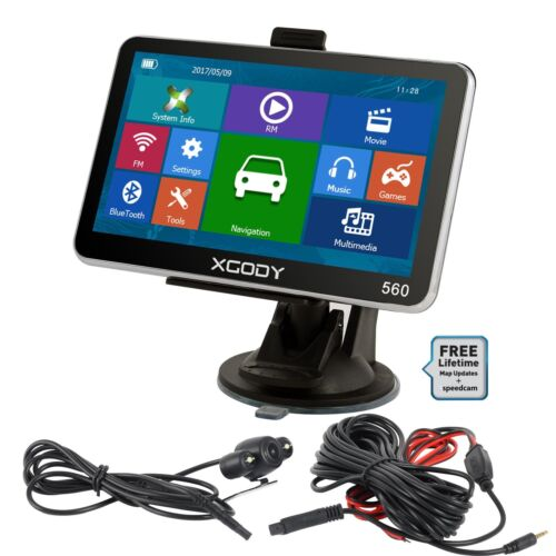 XGODY 5'' GPS Car Navigation Bluetooth 8GB 2D 3D Maps with Wired Reverse Camera