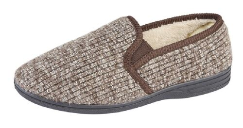 a392f0bdbbe15 Mens Full Slippers Zedzzz KEITH Textile Ribbed Twin Gusset Warm Lined  Slipper