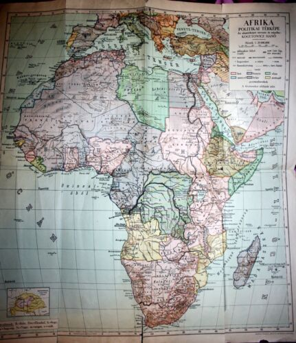 AFRIKA, ARABIA, colonial Afrika before WWII, large map by M.Kogutowicz,1930`s