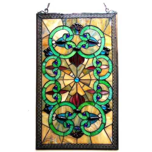 """Window Panel Vintage Victorian Design 17"""" X 28"""" Tiffany Style Stained Glass PAIR"""
