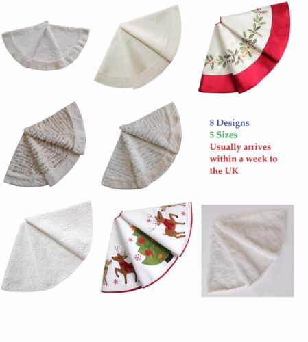 Christmas Tree Skirt Xmas White Silver Quilted Embroidered Faux Fur Ornaments