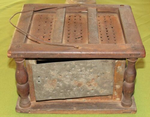 ~Antique Primitive Coal Heated Pressed Tin & Wood Foot Warmer Wire Handle~