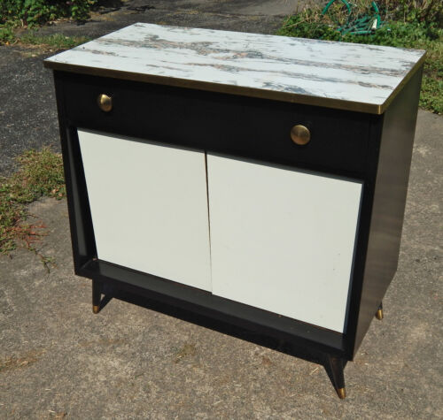 Mid Century Modern Black Metal Cabinet w/ Drawer Case Chest Bar Book Shelf