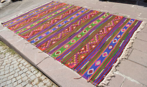 80″ x 129″ Turkish Rug Hand-Woven Braided Kilim Boho Rug 6 ft 8 in x 10 ft 9 in