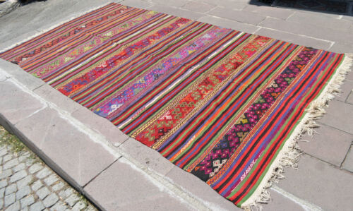 6x11 Feet Hand-Woven Braided Turkish Rug Kilim Shabby Chic Rug Actual 70″ x 131″