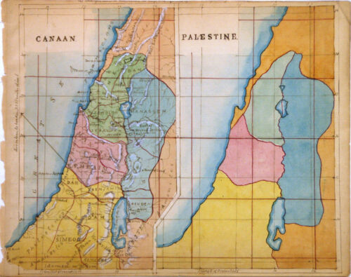 1880 Manuscript Map of Israel, Palestine or the Holy Hand - ORIGINAL