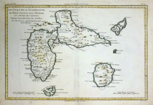 1780 Bonne Map of Guadeloupe Islands, French West Indies - ORIGINAL ANTIQUE MAP