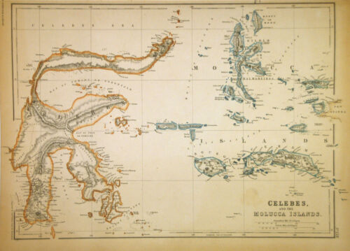 1859 Weller Map of Borneo and Celebes (Sulawesi), Indonesia - ORIGINAL