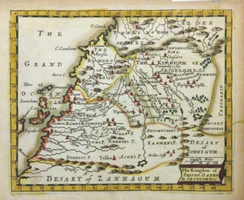 1670 Seller Miniature Map of Northwest Africa (Morocco Western Sudan) - ORIGINAL