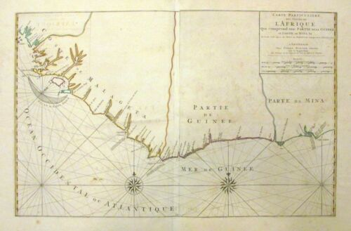 1693 Mortier Map or Chart of the West Coast of Africa (Gold Coast, Ivory Coast)