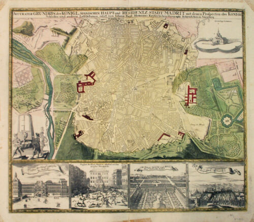 1730 Homann City Plan or Map of Madrid, Spain - ORIGINAL