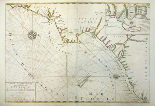 1693 Mortier Map Sea Chart - Southeast Coast of Africa -South Africa, Mozambique