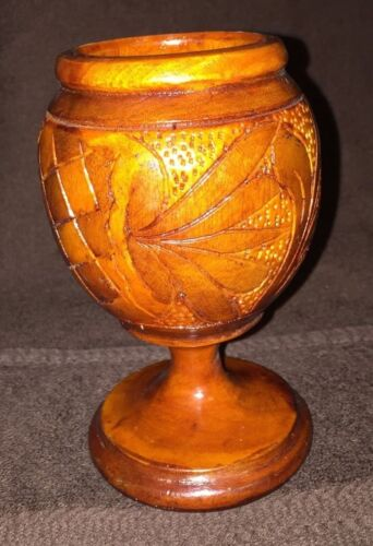 """Hand carved wooden Goblet cup, hand made Floral Design  6"""" Tall"""