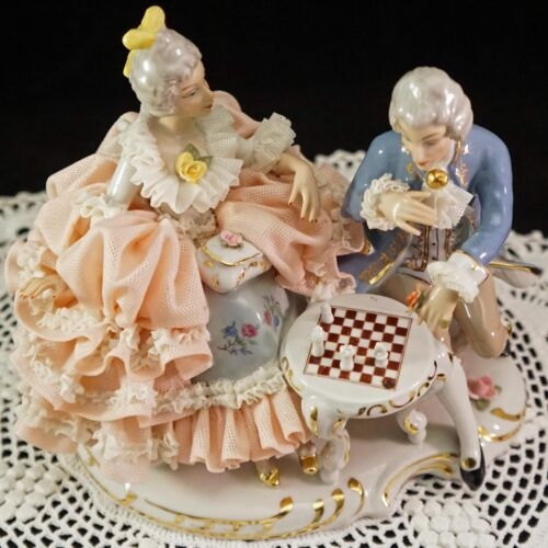 Dresden Lace Figural Group Man & Woman Playing Chess Intricat Porcelain Figurine