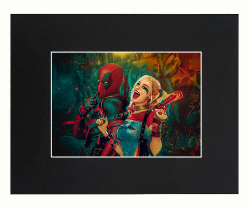 Harley Quinn And Deadpool Art Print Picture photo 8x10 Matted Poster U.S Seller