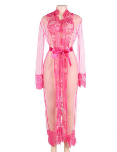 Brand New Sexy Plus Size 8-22 Lingerie Robe Gown Long Maternity Pink Lace Sheer