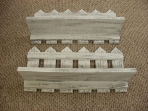 """Lot of 2 White Weatered Looked Picket Fence Shelf 20"""" Long Primitve-Rustic Wood"""