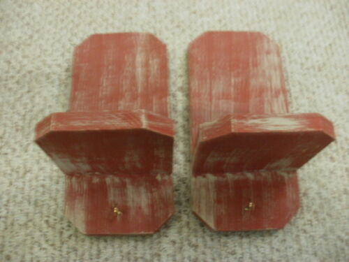 Lot of 2 Red Weathered Look Primitive (Rustic) Hook Shelf