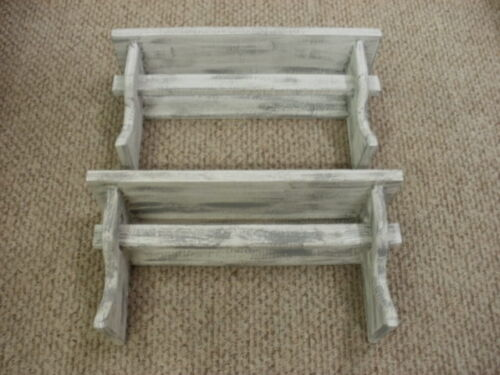 "Lot of 2 White Weathered Looked Towel/Quilt Shelf 19"" Long Primitive (Rustic)"