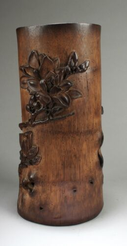 Antique Chinese Bamboo Carved Brush Pot