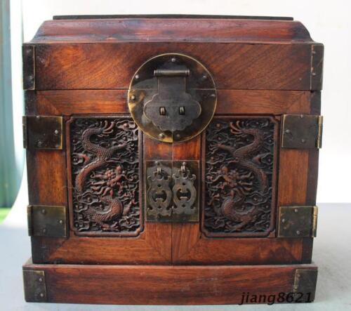 """10"""" China Huanghuali Wood Dynasty Carved Dragon Drawer Jewelry Cabinet"""