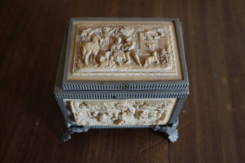Reproduction Carved Resin Casket or Box with Satin Lining