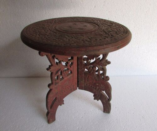 Vintage Old Hand Carved Wooden Stool / Center Foldable Side Table Collectible