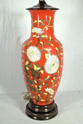 AN OVERSIZE MID CENTURY HAND PAINTED ORIENTAL ASIAN RED GLAZED CERAMIC LAMP