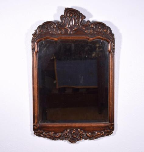 *Antique French Louis XV Rococo Mirror with Beveled Glass in Walnut Frame