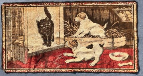 VINTAGE HAND-WOVEN TAPESTRY PUPPIES DOGS AND CAT SHOWDOWN