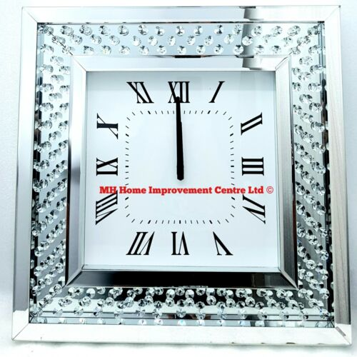 Sparkly Floating Crystal Large Silver Mirrored Square Wall Clock 50x50cm Glitz <br/> A Large Dose of Style, Sparkle & Elegance.