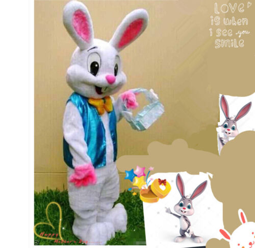 Easter Bunny Mascot Costume Cartoon Rabbit Cosplay Adult Fancy Dress Outfit Suit