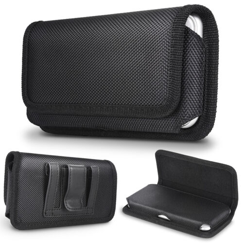 Rugged Nylon iPhone 7 8 Xs XR Holster Black Carrying Cell Phone Holder Belt Clip