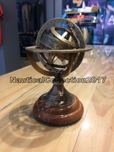 Vintage Nautical 6 Inches Collectible Solid Brass Armillary Sphere World Globe