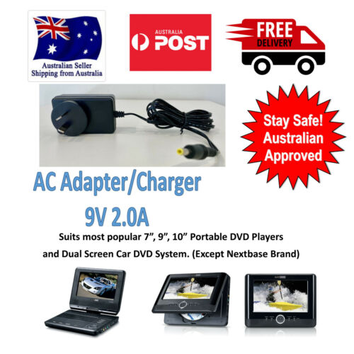 """AC Adaptor Charger 9V 1.5 Amp for 7"""" 9"""" 10"""" Portable DVD, Dual Screen DVD"""