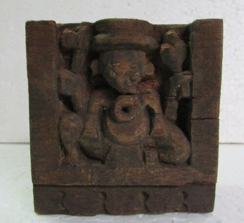 Rare Wooden Old Hand Carved God Ganesh Panel, Collectible Vintage Home Decor