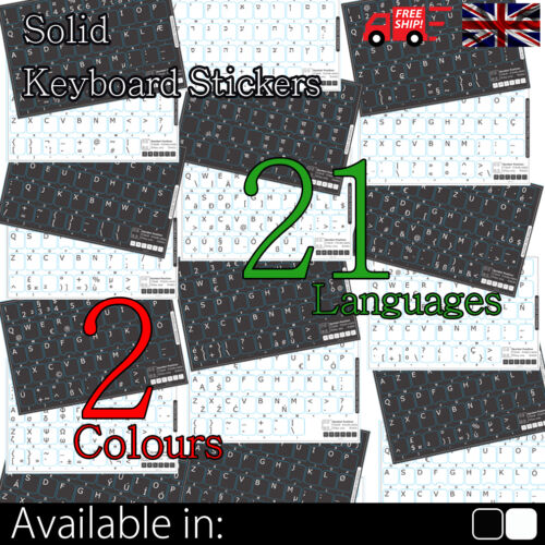 Non Transparent Opaque Keyboard Stickers In 20 Languages And 2 Colours To Choose