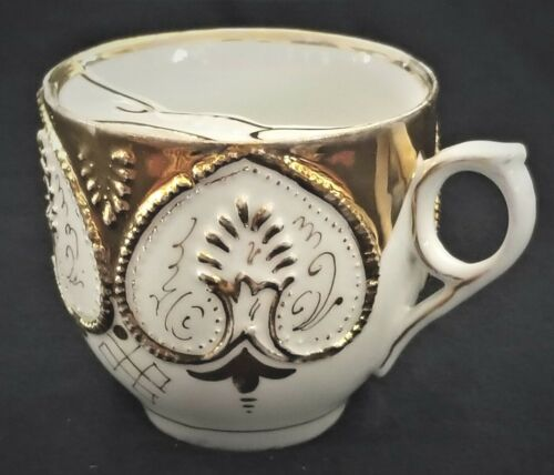 """Mustache CUP, hearts, porcelain, Germany, gilt,  c1900, 3"""", Rococo"""