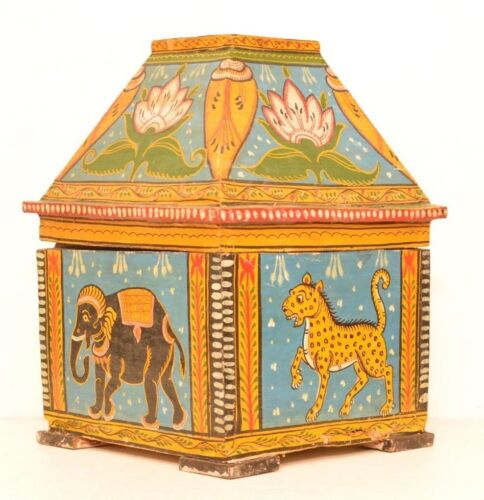 Hand Painted Covered Wooden Box Elephant Horse Tribal Folk Art Floral Decorative