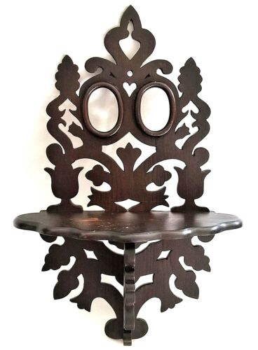 Wall bracket Shelf, Victorian, folk, heart, tulip, pinecone, walnut, 20t, 19th C
